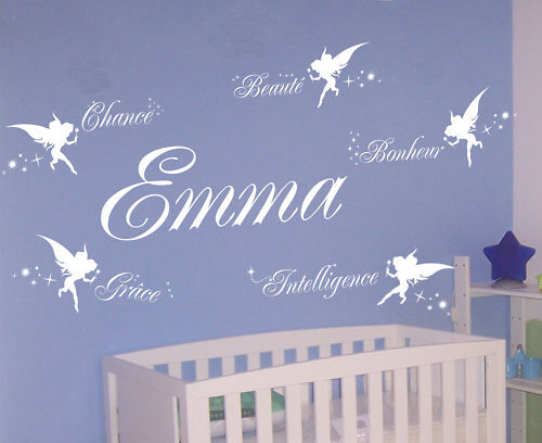 Sticker deco chambre bebe fee prenom personnalise for Chambre bebe fille deco