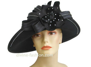 womens church dress hat wool satin rhinestone black ebay