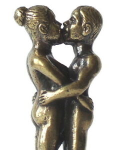 Kissing lovers naked miniature brass figures figurines