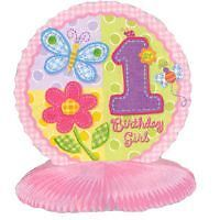 GIRLS 1st BIRTHDAY HUGS AND STITCHES TABLE DECORATION