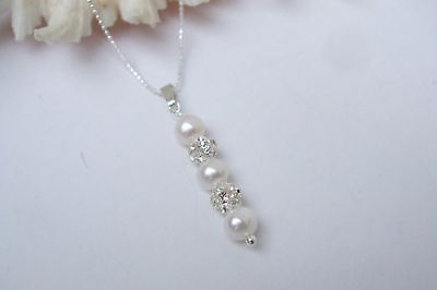 Designer Freshwater Pearl Drop Bridal Necklace Sterling Silver Handmade Jewelry