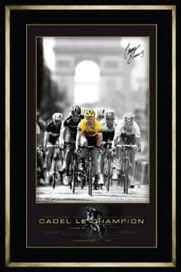 CADEL EVANS SIGNED FRAMED CHAMPS ELYSEES 2011 TOUR DE FRANCE LIMITED PRINT