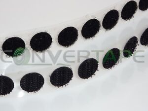 VELCRO ADHESIVE STICKY COINS HOOK LOOP DOTS BLACK WHITE