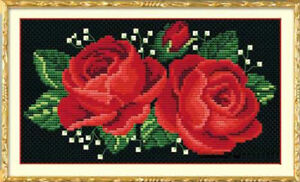 New~Needlework~Counted Cross Stitch Kits-Red Roses-