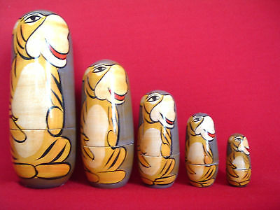 Winnie The Pooh Tigger Russian Wooded Stacker Dolls 5 In A Set.(hand Painted)