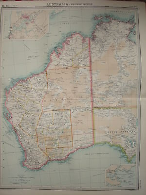 1920 LARGE MAP ~ WESTERN AUSTRALIA ~ 23 INCHES x 18