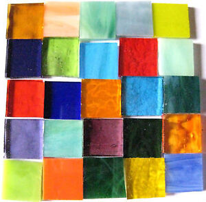 25 Mixed colour Mosaic Tiles 2x2cm Arts & Crafts SALE