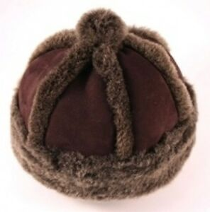CHILDRENS-GENUINE-SHEEPSKIN-HAT-DARK-BROWN-2-SIZES