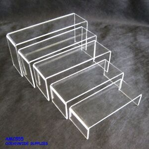 Premium Set of 5 Sturdy Acrylic Riser-Clear-Super Deal-Jewellery Display