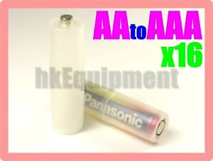 Battery-Adaptor-Converter-Spacer-AAA-to-AA-Battery-x16