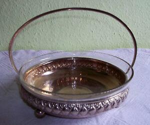 Antiguo Pan bowl-tazón de fuente de Estilo moderno Inserto de vidrio