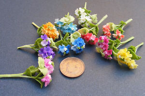 1-12-Bunch-Of-2-Dolls-House-Miniature-Polymer-Clay-Hydrangea-Flowers-Accessory
