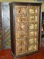 antique armoire this teak armoire is made from durable recycled teak wood and is hand carvedgolden brass floral motif on the door of the cabinetarmoires antique furniture armoire