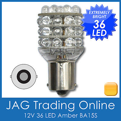 12V 36-LED BA15S 1156 AMBER INDICATOR AUTO LIGHT GLOBE- Blinker/Car/Trailer Bulb