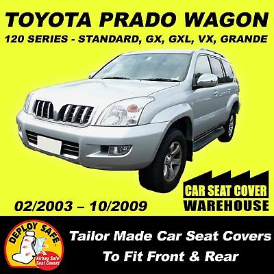 Car Seat Covers To Fit Toyota Prado 120 Series All 3 Rows 2002-2009 Airbag Safe