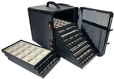 Black Aluminum Travel Case Trade Show Jewelry Trays