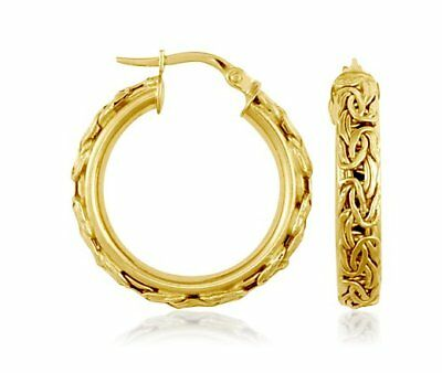 Framed Byzantine Round Hoop Earrings Real 18k Yellow Gold Blue Nile