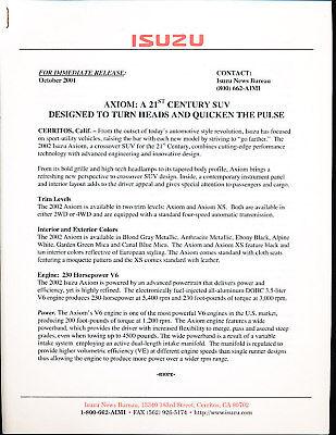 2002 Isuzu Rodeo Trooper Axiom Press Release Specs