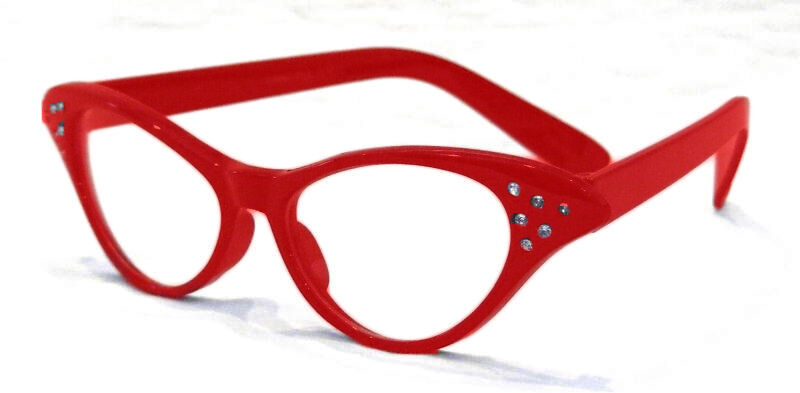 1950's Red Cat Eye Glasses W/rhinestones Clear Lenses Costume Accessory