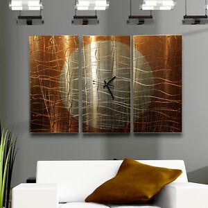 Large-Modern-Abstract-Copper-Metal-Wall-Art-Sculpture-Clock-Warm-Embrace