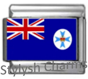 AUSTRALIAN STATE QLD FLAG Photo Italian Charm 9mm -1x PC209 Single Bracelet Link