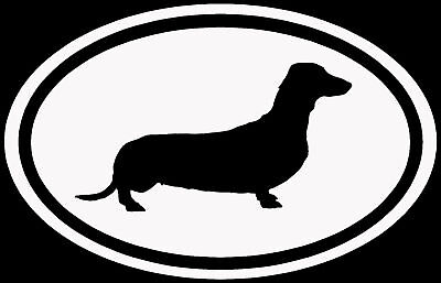 Dachshund Sticker White Oval Dog Puppy Euro Vinyl Decal