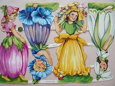 Glanzbilder Oblaten ef 7310 Blumen Kinder Mädchen