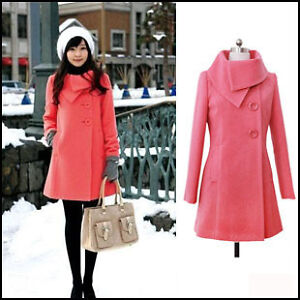 Womens-Warm-Winter-Woolen-Long-Coat-Jacket-Trench-Slim