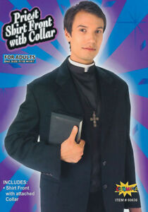 DELUXE QUALITY PRIEST VICAR SHIRT FRONT & COLLAR FANCY DRESS