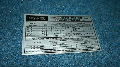 1973 Ford Maverick And Grabber Tire Pressure Inst Decal