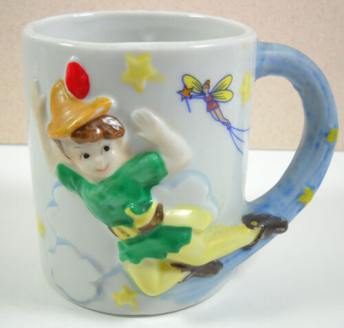 Flying Peter Pan Tinkerbell Disney VTG 3D Ceramic Mug