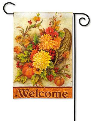 Harvest Mums Welcome Message Fall Small Banner Flag 12.5x18 Breeze Art 32622