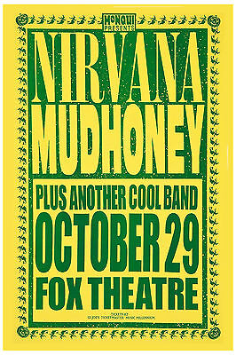 Nirvana & Mudhoney at  Fox Theatre Concert Poster 1991