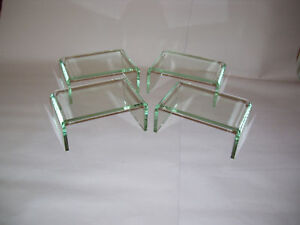 4 PACK  OF GLASS LOOK ACRYLIC PERSPEX DISPLAY PLINTHS