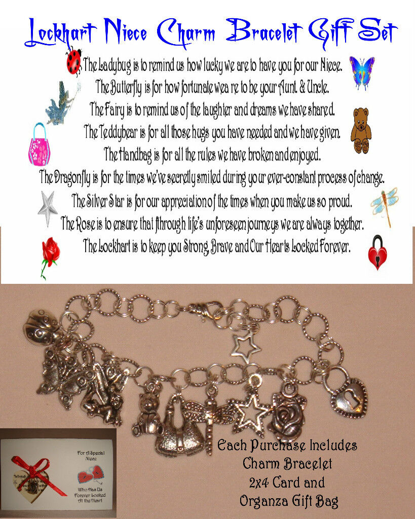 Special Niece Charm Bracelet Poem Gift Set With 2x4 Card Traditional, Silver