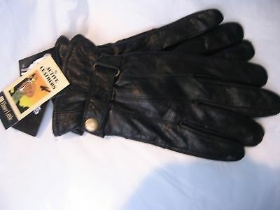 Mens Thinsulate Leather Gloves,black,s/m