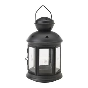 21cm-Black-noir-metal-tealight-candle-hanging-night-outdoor-lantern-glass-window