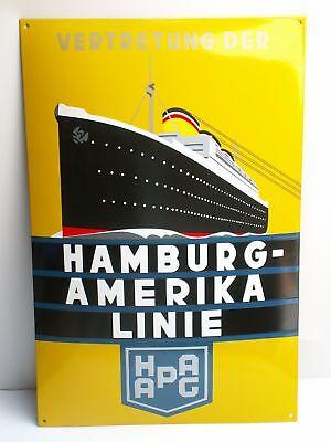 HAMBURG-AMERIKA LINIE Emailschild HAPAG 73x48cm Reisebüro deko enamel sign gelb