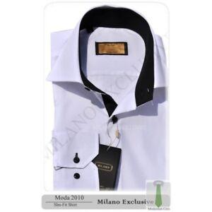NUEVO-DISENO-ITALIANO-Blanco-O-Negro-Camisa-con-cuello-en-contraste