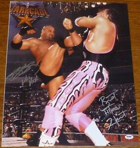 Bret-Hart-Bill-Goldberg-Signed-WWE-WCW-16x20-Photo-PSA-DNA-COA-Autograph-Picture