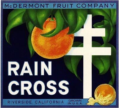 Riverside Rain Cross Mission Inn Orange Citrus Fruit Crate Label Art Print Mission Orange Label