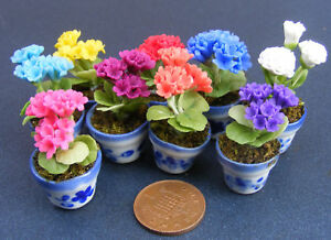 1-12-Bunch-Of-3-Polymer-Clay-Geraniums-In-A-Pot-Dolls-House-Miniature-Flowers