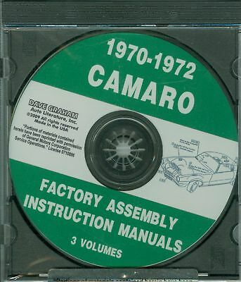 1970 71 72 Camaro/ss/z28/rs Assembly Manual On Cd