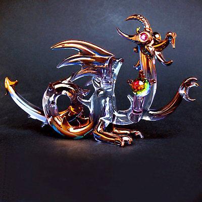 Dragon Medieval Hand Blown Glass Figurine Crystal Gold