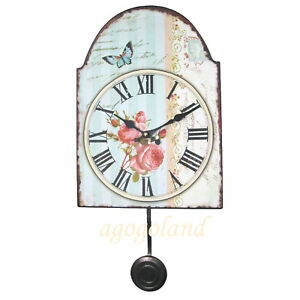 Victorian-Style-Metal-Wall-Clock-with-Pendulum-Flowers-and-Butterfly-Painting
