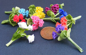 1-12-Bunch-Of-3-Polymer-Clay-Geraniums-Dolls-House-Miniature-Flowers-Accessory