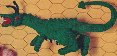 Vintage Knitting Pattern To Make Dragon Dinosaur Doll Stuffed Soft Toy 18 Drago