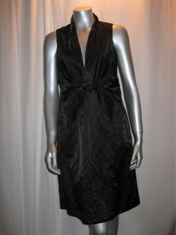 $318 EILEEN FISHER Black Shimmery Steel Satin V Neck Tie Front Dress sz 6 NWT