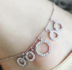 Women-Alloy-Anklet-foot-chain-ankle-silver-bracelet-5-crystal-circles-charm-P68
