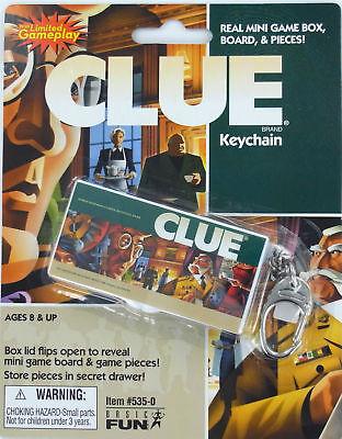 CLUE Miniature Board Game KEYCHAIN Keyring Basic Fun Hasbro Mini Box Doll NEW
